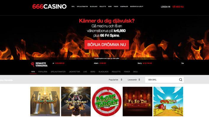 Startsidan hos 666 casino.