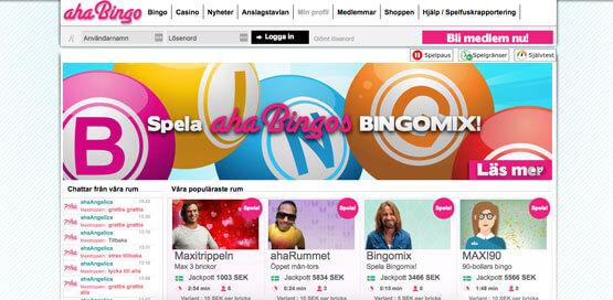 Första sidan hos Aha Bingo.