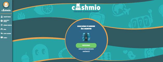 Första sidan hos Cashmio.