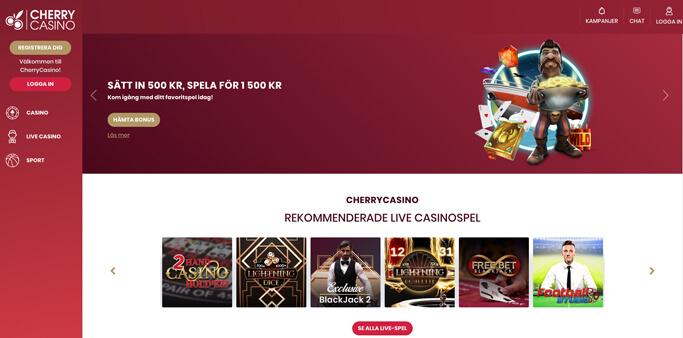 Startsida för Cherry Casino.