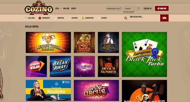 Cozino Casino startsida.