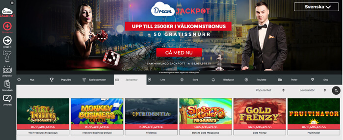 Dream Jackpot Casino startsida