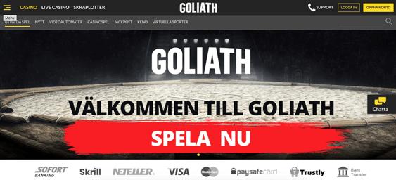 Startsidan hos Goliath Casino.