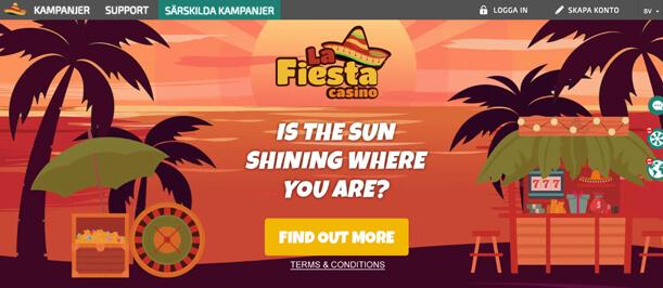 Startsidan för La Fiesta Casino.