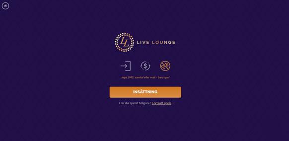 Startskärm för Live Lounge Casino.