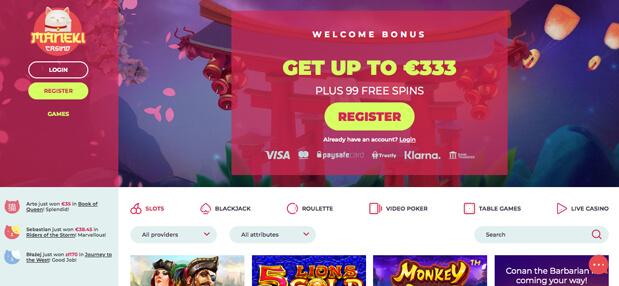 Maneki Casino startsida