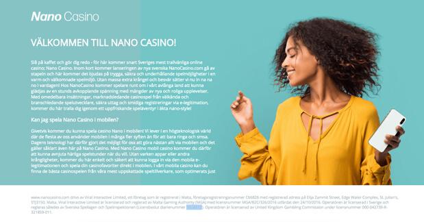 Skärmdump av Nano Casino's hemsida.