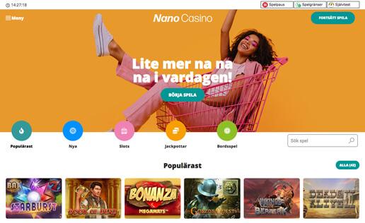 Startsida för Nano Casino.