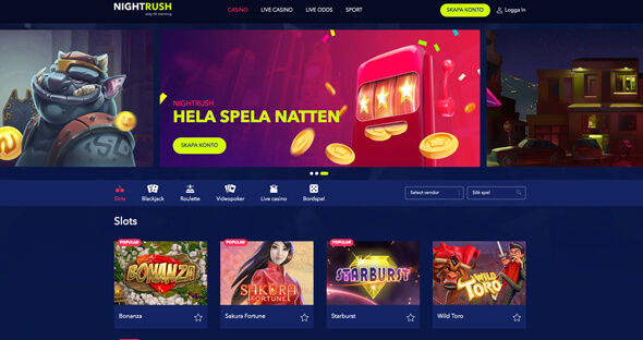 Startsidan för Night Rush Casino.