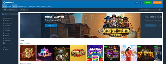 Startsida för NordicBet Casino.