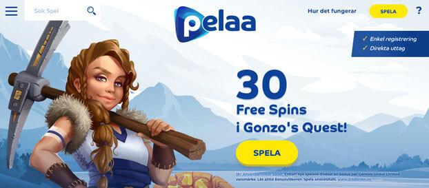 En bild som visar startsida hos Pelaa Casino.