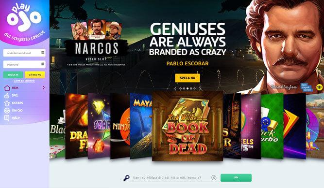 Startsida för PlayOJO