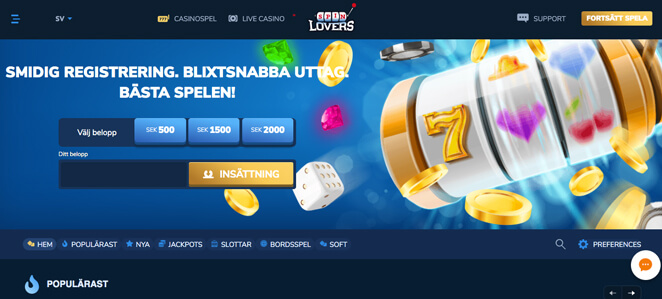 Startsidan hos Spin Lovers Casino.