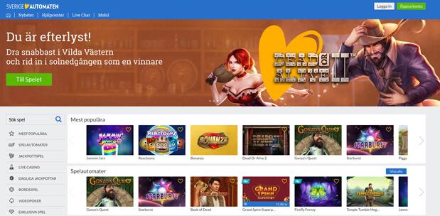 Skärmdump från Sverigeautomaten Casino.