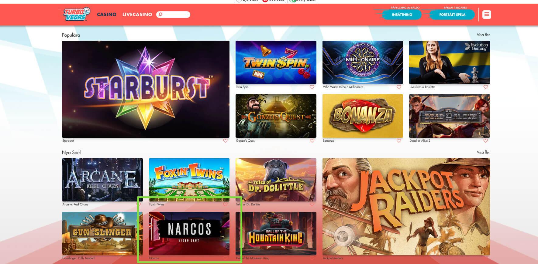 Narcos spelautomat nu live hos casinon