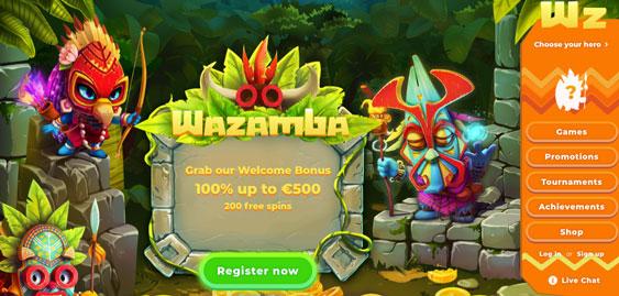 Första sidan för Wazamba Casino.