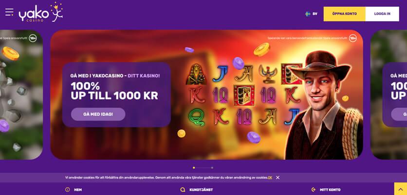 Yako Casino startsida